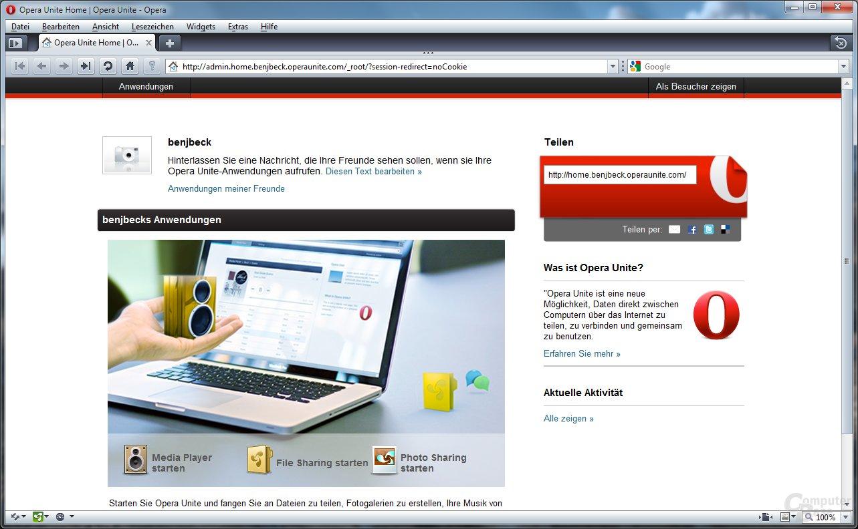 Opera Unite – Server-Startseite