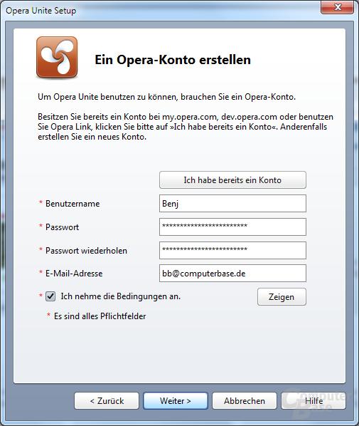 Opera Unite – Einrichtung