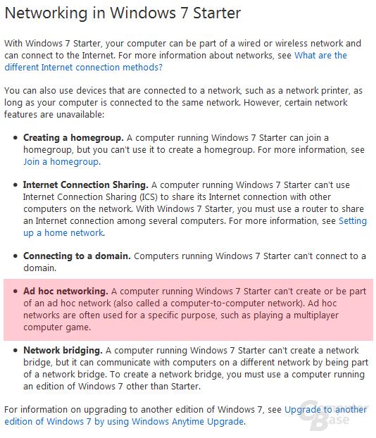 Fehlende Netzwerk-Features der Windows 7 Starter Edition