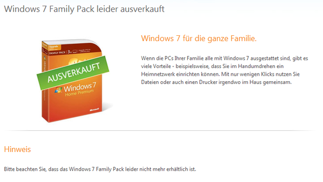 Windows 7 Family Pack: Ausverkauft