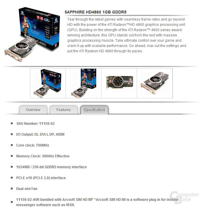 Sapphire Radeon HD 4860