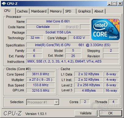 Intel Core i5-661 mit aktivierten Turbo im Idle