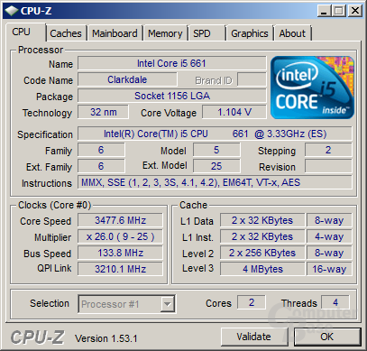 Intel Core i5-661 mit aktivierten Turbo unter Volllast