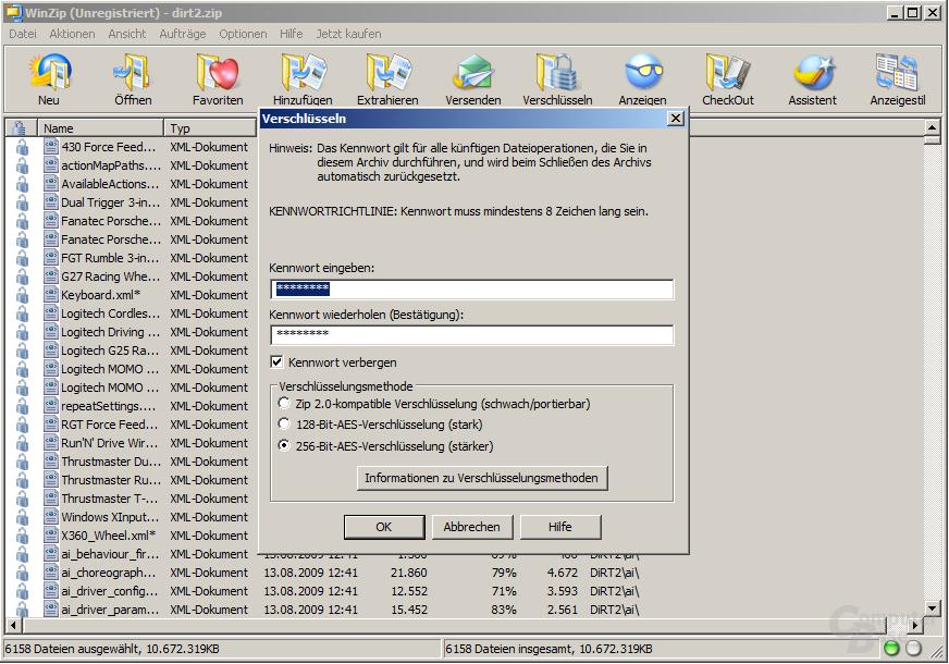 WinZip 14 AES-Verschlüsselung