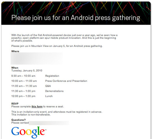Google-Event am 5. Januar 2010