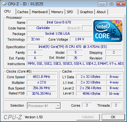 Intel Core i5-670 bei 6,92 GHz
