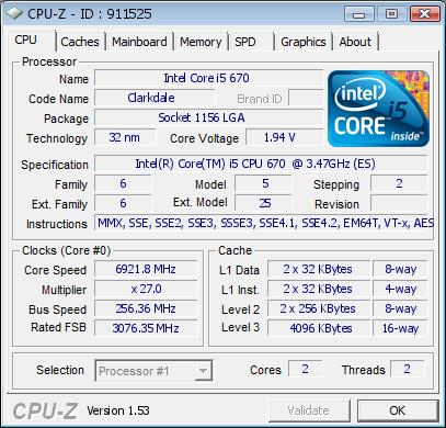Intel Core i5-670 bei 6,92 GHz