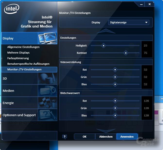 Intel Clarkdale – das Grafikmenü