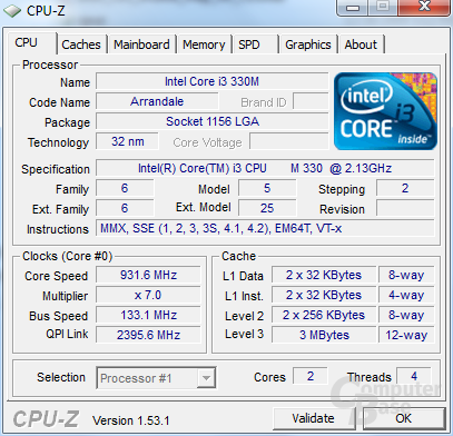 CPU-Z-Informationen zum Toshiba Satellite U505