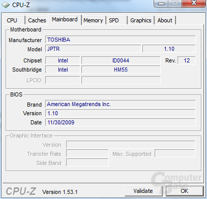 CPU-Z-Informationen zum Toshiba Satellite U505