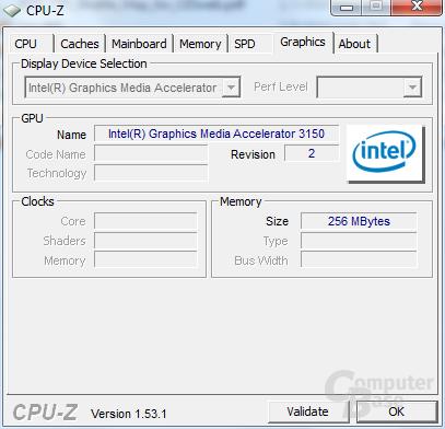 CPU-Z-Informationen des Shuttle-Netbooks