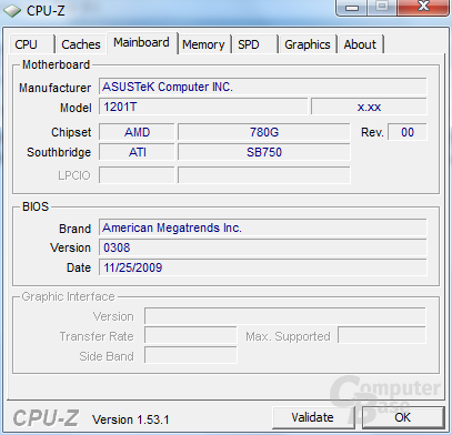 Asus Eee PC 1201T in CPU-Z