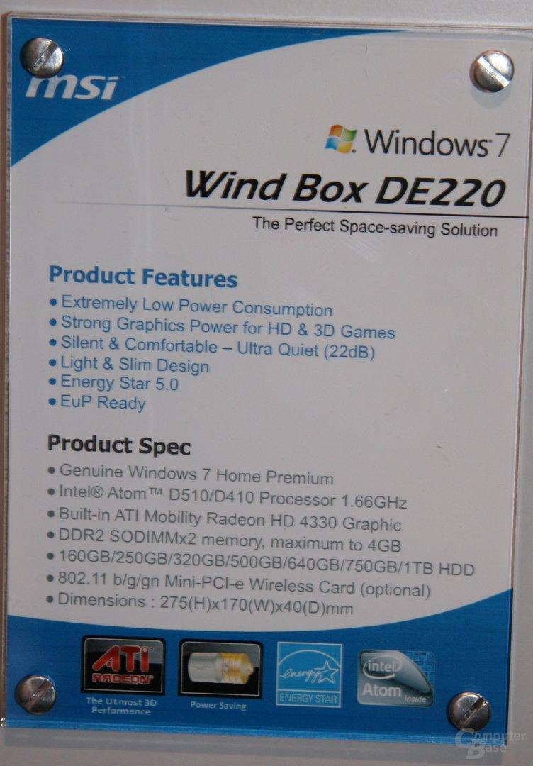 MSI Wind Box DE220