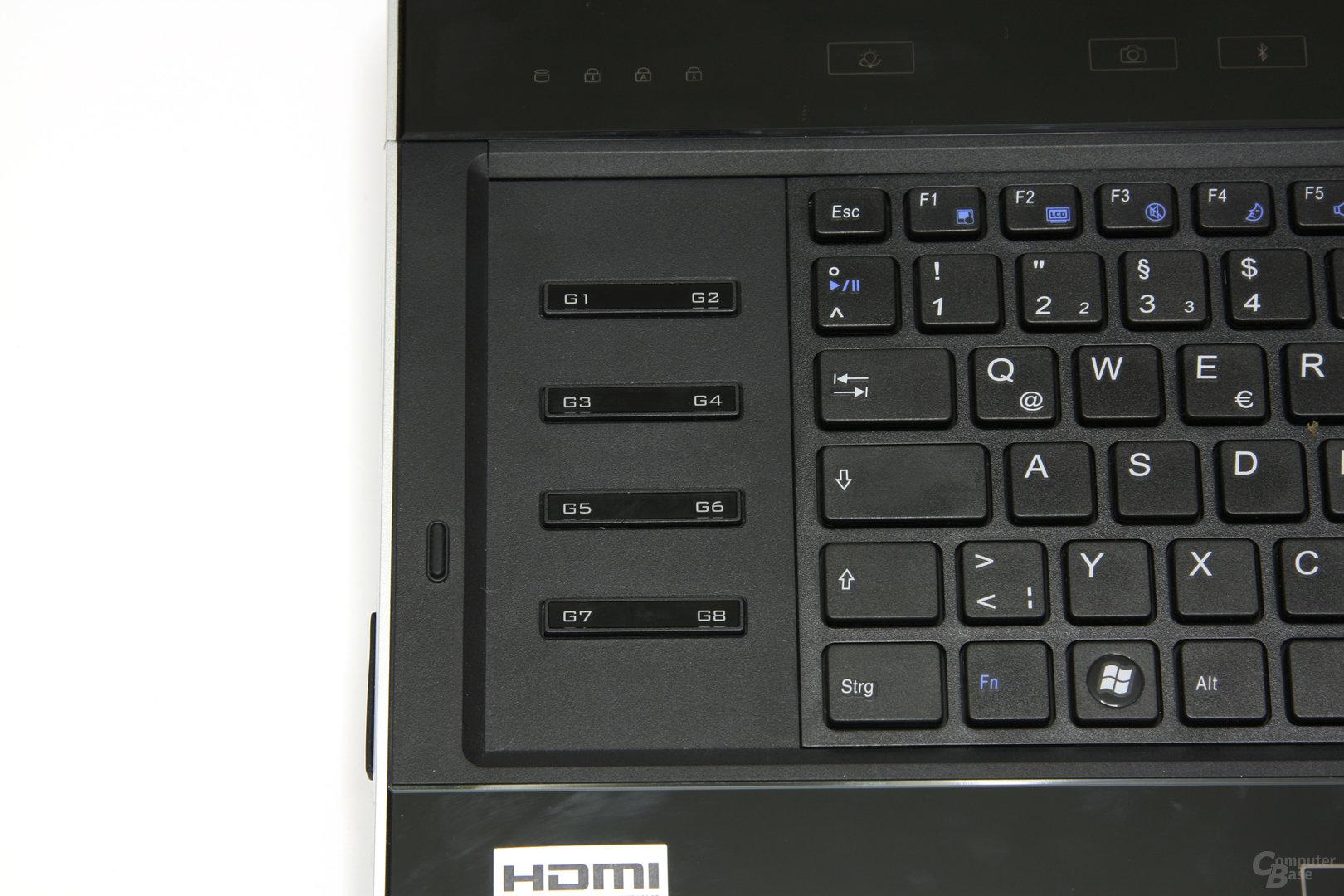 XMG8 Zusatztasten