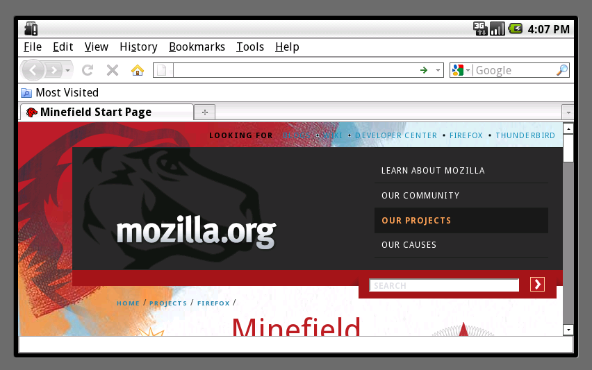 """Firefox for mobile"" auf Android"