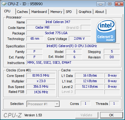 Intel Celeron 347 auf 8,2 GHz
