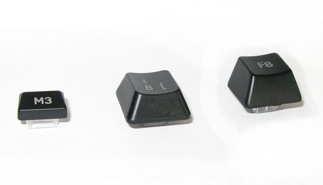 Die unterschiedlichen Tastenkappen der G110