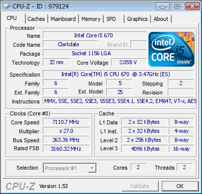 Intel Core i5-670 bei 7,11 GHz