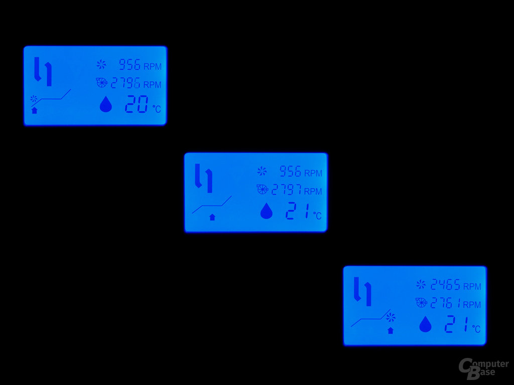 Informationen über Temperatur und Drehzahlen