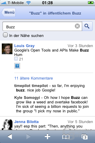 "Google ""Buzz"" auf dem iPhone"