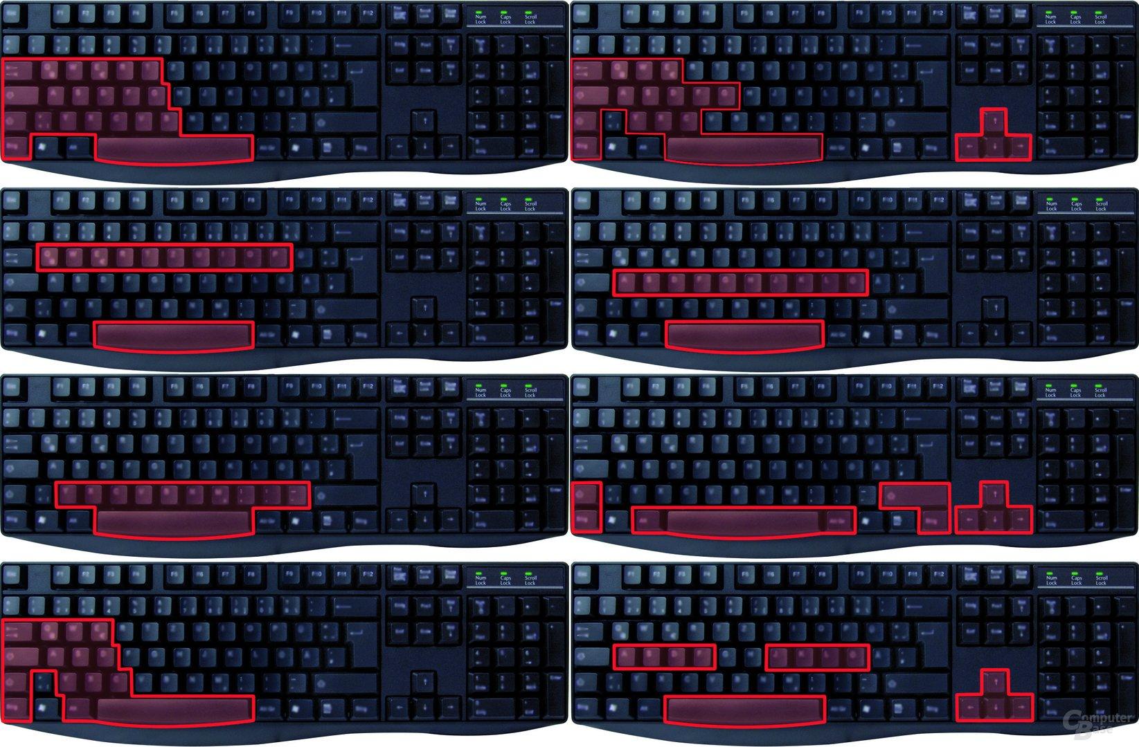 Anti-Ghosting-Tastenbelegungen der KeySonic KSK-8003 UX