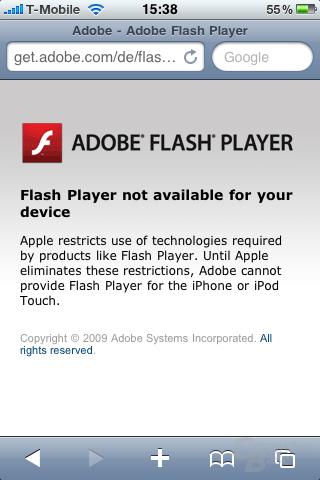 Fehlermeldung beim Versuch Adobe Flash mit dem iPhone herunterzuladen