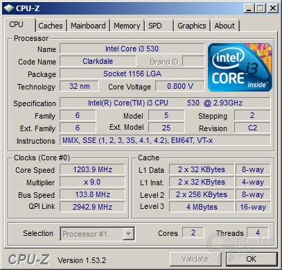 Intel Core i3-530 im Idle undervoltet