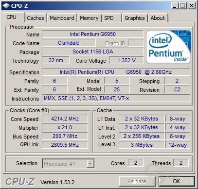Intel Pentium G6950 bei 4,21 GHz