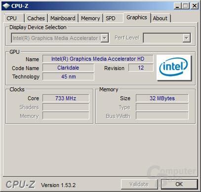 Grafiktakt der integrierten GPU bei 733 MHz