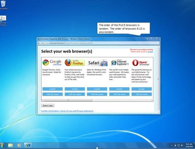 Fenster zur Auswahl des Browsers