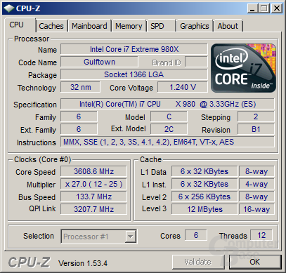 Intel Core i7-980X mit aktiviertem Turbo