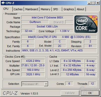 Intel Core i7-980X mit Turbo übertaktet