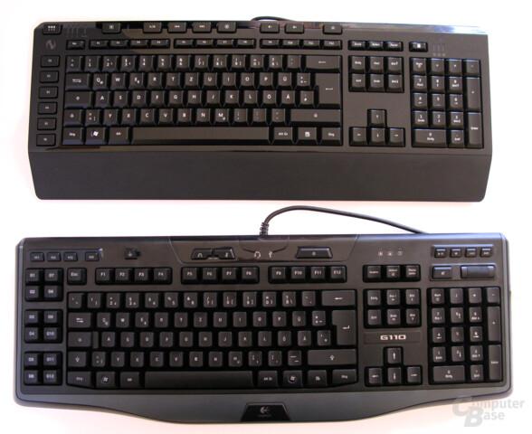 Die SideWinder X4 (oben) und Logitech G110 (unten) im Vergleich