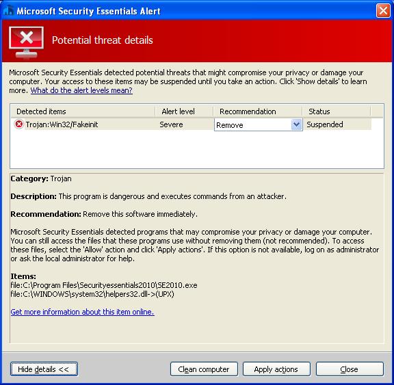 Echtes Microsoft Security Essentials erkennt den Trojaner Win32/Fakeinit