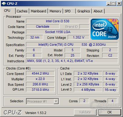 Intel Core i3-530 bei 4,54 GHz