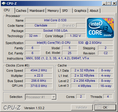 Intel Core i3-530 bei 4,54 GHz