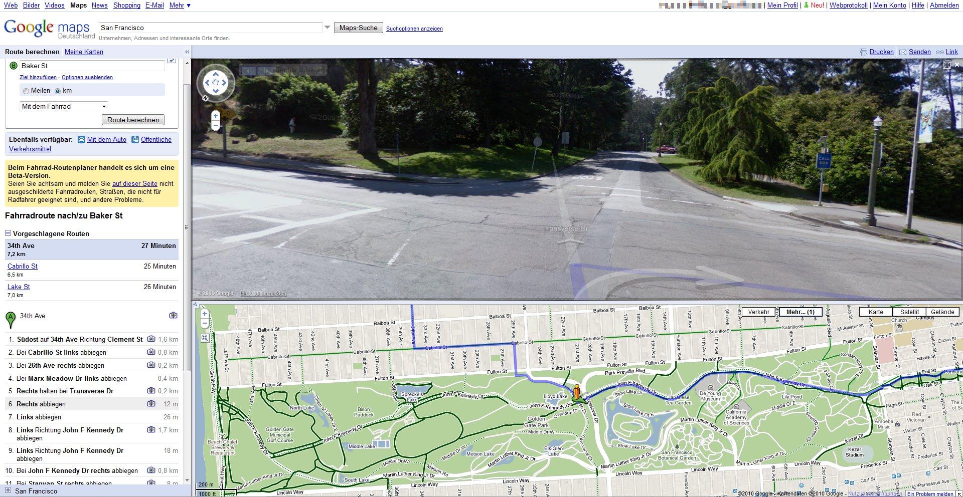 Fahrradroute mit StreetView-Bildern
