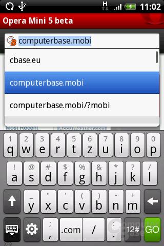 Opera Mini 5 – URL-Auswahl