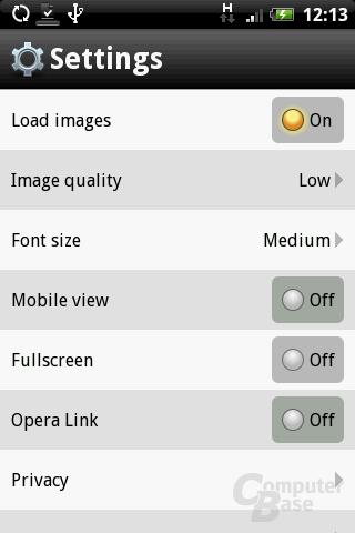Opera Mini 5 – Einstellungen