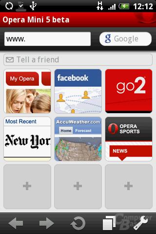 Opera Mini 5 – Startbildschirm