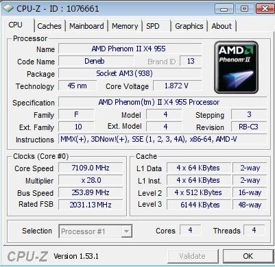 Phenom II X4 955 BE auf 7.109 MHz