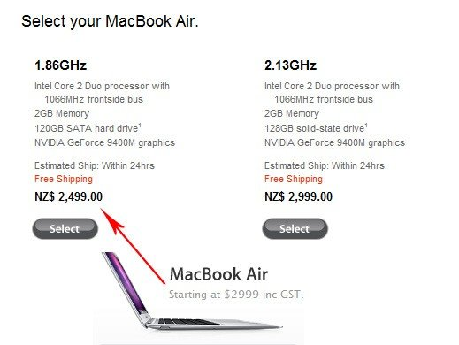 Preisanpassungen bei Apple in Neuseeland