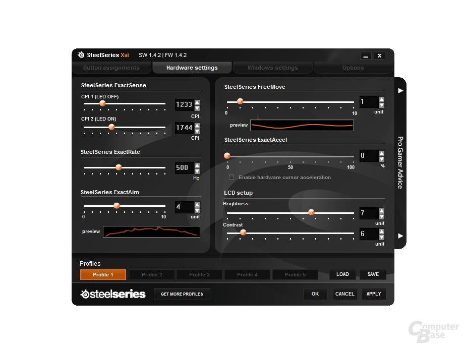 Steelseries Xai Software-Übersicht