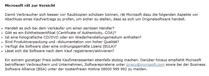 Microsoft-Hinweise zu Produktfälschungen