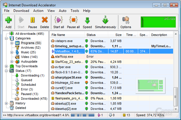 The Internet Download Accelerator window