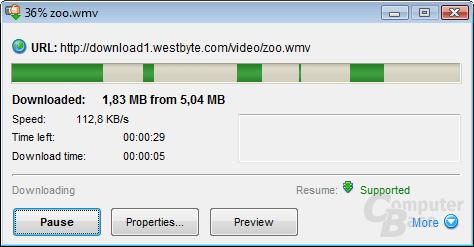 File downloading information window