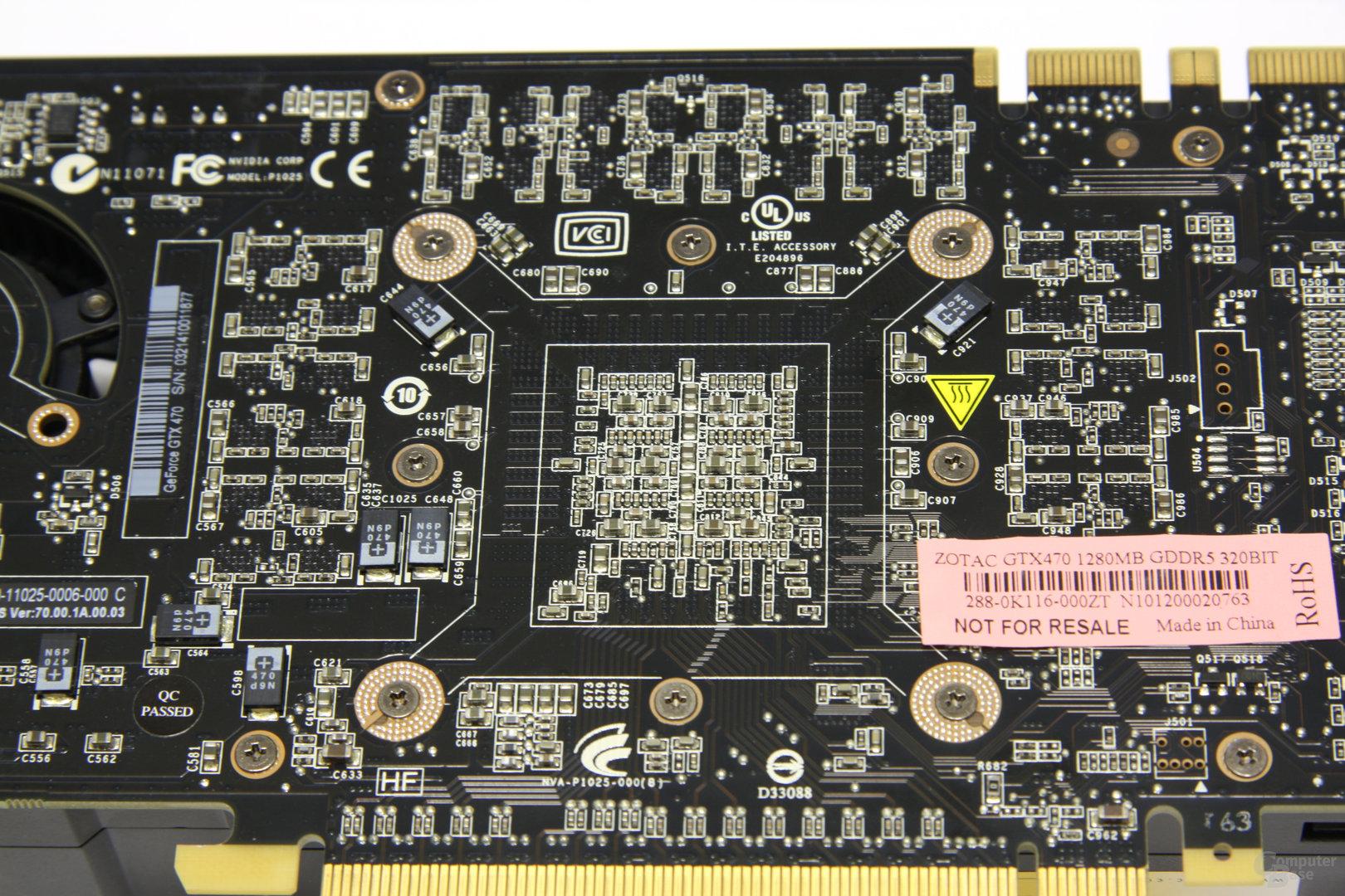 GeForce GTX 470 GPU-Rückseite