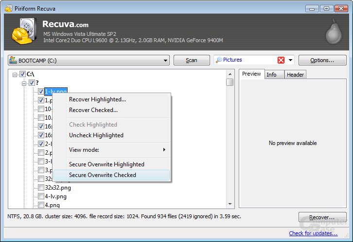 Selecting files to recover in tree view