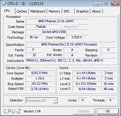 AMD Phenom II X6 1090T mit 6,29 GHz