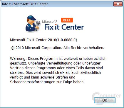 Info zu Microsoft Fix it Center